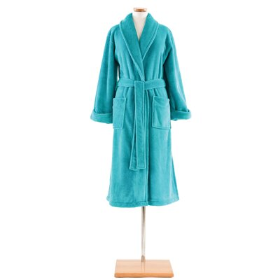 Sheepy Fleece Bathrobe Size: Petite, Color: Aqua