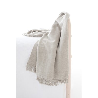 Windsor Fleece Fringed Cotton Throw Color: Platinum