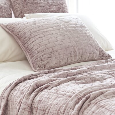 Matte Velvet Quilted Sham Color: Dusty Plum, Size: Euro
