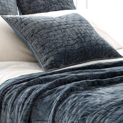 Matte Velvet Quilted Sham Color: Juniper, Size: Euro