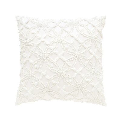 Candlewick Cotton Throw Pillow Size: 18 H x 18 W, Color: White