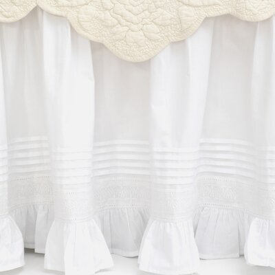 Louisa Cotton Bed Skirt Color: White, Size: Twin