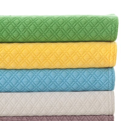 Diamond Matelasse Cotton Coverlet Size: King, Color: White