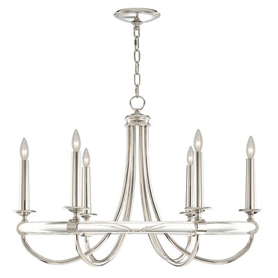 Grosvenor Square 6-Light Candle-Style Chandelier Finish: Polished Nickel