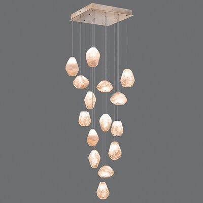 Natural Inspirations 15-Light Pendant Finish: Gold Toned Silver, Shade Color: Natural