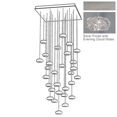 Natural Inspirations 30-Light Cascade Pendant Finish: Platinized Silver