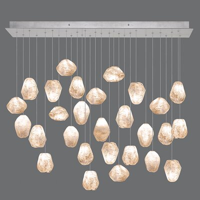 Natural Inspirations 28-Light Pendant Finish: Platinized Silver, Shade Color: Natural