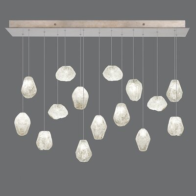 Natural Inspirations 15-Light Kitchen Island Pendant Finish: Gold Toned Silver, Shade Color: Clear