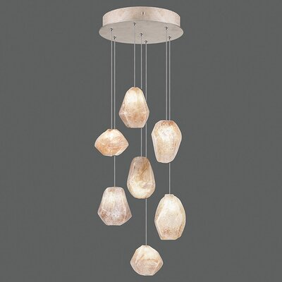 Natural Inspirations 7-Light Cluster Pendant Finish: Gold Toned Silver, Shade Color: Natural