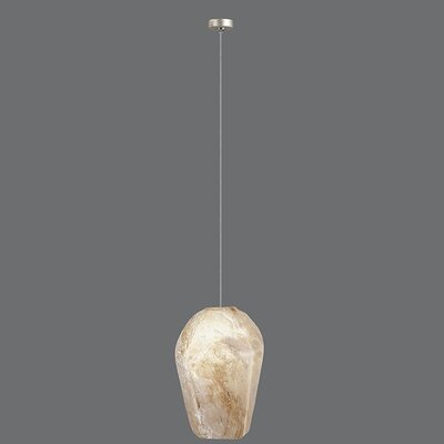 Natural Inspirations 1-Light Mini Pendant Finish: Gold Toned Silver, Shade Color: Natural