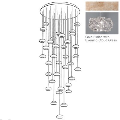 Natural Inspirations 36-Light Cascade Pendant Finish: Gold Toned Silver