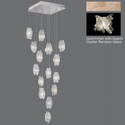 Natural Inspirations 15-Light Cluster Pendant Finish: Gold Toned Silver