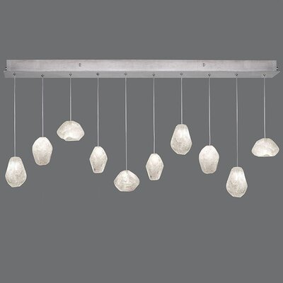 Natural Inspirations 10-Light Kitchen Island Pendant Finish: Platinized Silver, Shade Color: Clear