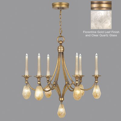 Quartz and Iron 6-Light Candle-Style Chandelier Shade Color: Clear, Finish: Florentine Gold