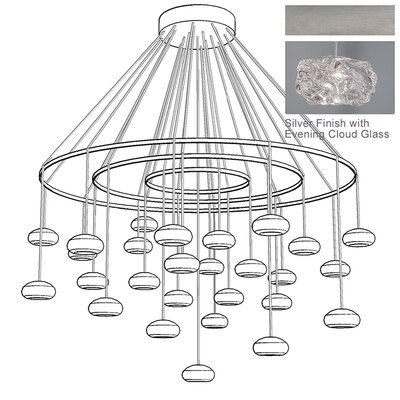 Natural Inspirations 27-Light Waterfall Chandelier Finish: Platinized Silver
