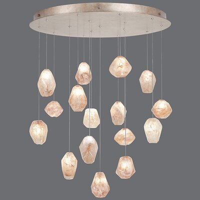 Natural Inspirations 16-Light Pendant Finish: Gold Toned Silver, Shade Color: Natural