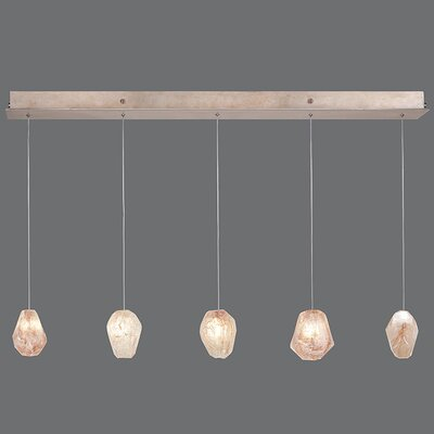 Natural Inspirations 5-Light Kitchen Island Pendant Finish: Gold Toned Silver, Shade Color: Natural