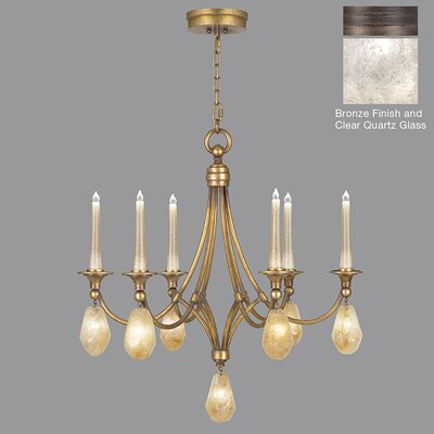 Quartz and Iron 6-Light Candle-Style Chandelier Finish: Bronze, Shade Color: Clear