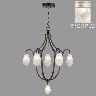 Quartz and Iron 8-Light Cluster Pendant Finish: Bronze, Shade Color: Natural