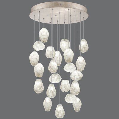 Natural Inspirations 22-Light Cascade Pendant Finish: Gold Toned Silver, Shade Color: Clear