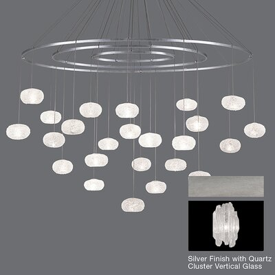 Natural Inspirations 24-Light Candle-Style Chandelier Finish: Platinized Silver