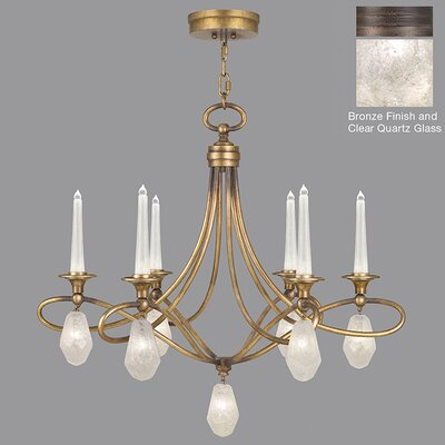 Quartz and Iron 6-Light Candle-Style Chandelier Shade Color: Clear, Finish: Bronze