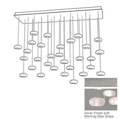 Natural Inspirations 28-Light Cascade Pendant Finish: Platinized Silver