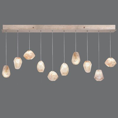 Natural Inspirations 10-Light Kitchen Island Pendant Finish: Gold Toned Silver, Shade Color: Natural