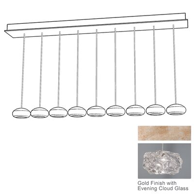 Natural Inspirations 9-Light Kitchen Island Pendant Finish: Gold Toned Silver