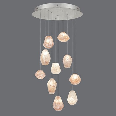 Natural Inspirations 10-Light Cluster Pendant Finish: Platinized Silver, Shade Color: Natural