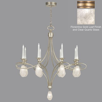 Quartz and Iron 8-Light Candle-Style Chandelier Finish: Gold, Shade Color: Clear