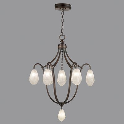 Quartz and Iron 8-Light Cluster Pendant Finish: Bronze, Shade Color: Clear