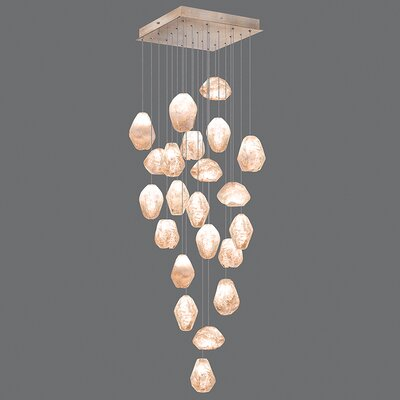 Natural Inspirations 22-Light Cascade Pendant Finish: Gold Toned Silver, Shade Color: Natural