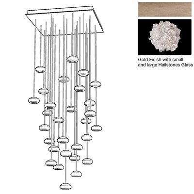 Natural Inspirations 30-Light Cascade Pendant Finish: Gold Toned Silver