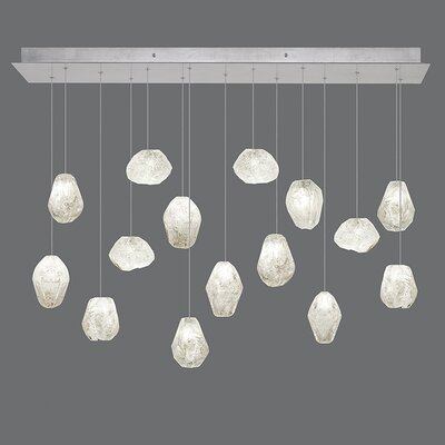 Natural Inspirations 15-Light Kitchen Island Pendant Finish: Platinized Silver, Shade Color: Clear