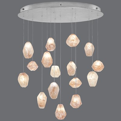 Natural Inspirations 16-Light Cluster Pendant Finish: Platinized Silver, Shade Color: Natural