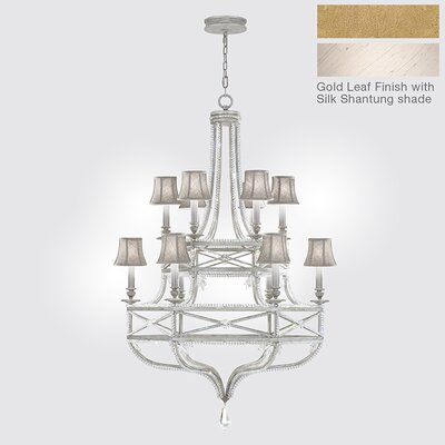 Prussian Neoclassic 12-Light Shaded Chandelier Finish: Gold