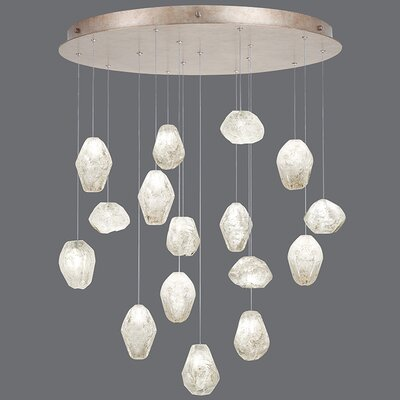 Natural Inspirations 16-Light Cluster Pendant Finish: Gold Toned Silver, Shade Color: Clear