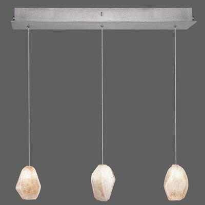 Natural Inspirations 3-Light Kitchen Island Pendant Finish: Platinized Silver, Shade Color: Natural