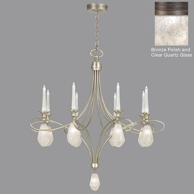 Quartz and Iron 8-Light Candle-Style Chandelier Shade Color: Clear, Finish: Bronze