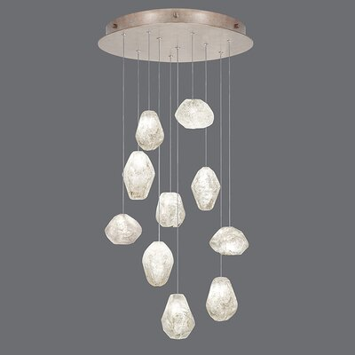 Natural Inspirations 10-Light Cluster Pendant Finish: Gold Toned Silver, Shade Color: Clear