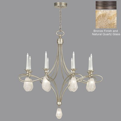 Quartz and Iron 8-Light Candle-Style Chandelier Shade Color: Natural, Finish: Bronze