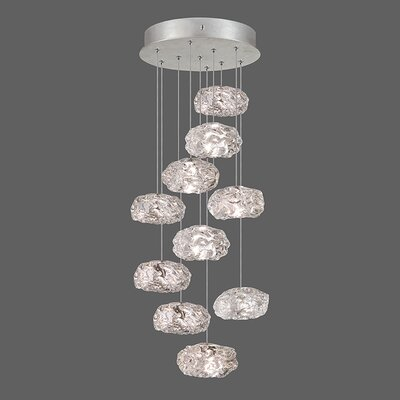 Natural Inspirations 10-Light Cascade Pendant Finish: Platinized Silver