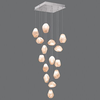 Natural Inspirations 15-Light Cluster Pendant Finish: Platinized Silver, Shade Color: Natural