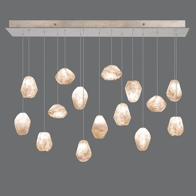 Natural Inspirations 15-Light Kitchen Island Pendant Finish: Gold Toned Silver, Shade Color: Natural