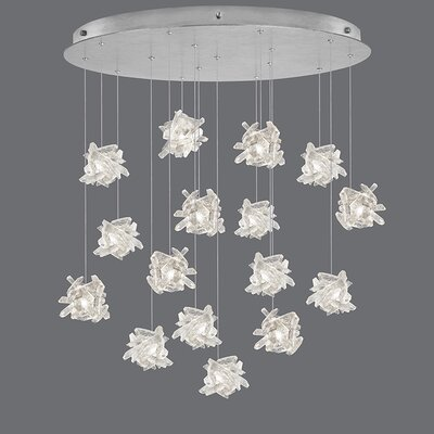 Natural Inspirations 16-Light Cluster Pendant Finish: Platinized Silver