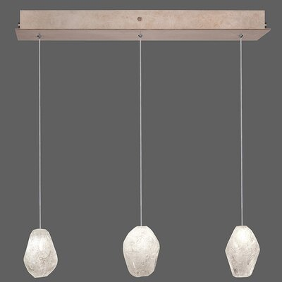 Natural Inspirations 3-Light Kitchen Island Pendant Finish: Gold Toned Silver, Shade Color: Clear