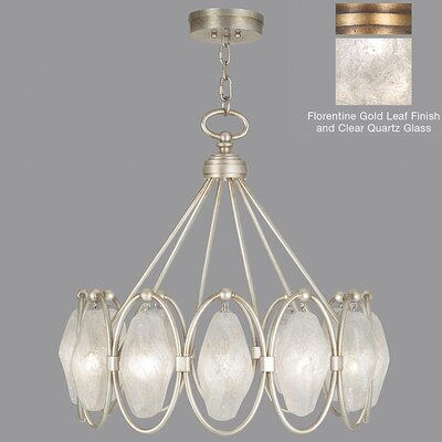 Quartz and Iron 12-Light Pendant Shade Color: Clear, Finish: Florentine Gold