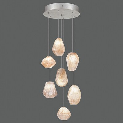 Natural Inspirations 7-Light Cluster Pendant Finish: Platinized Silver, Shade Color: Natural