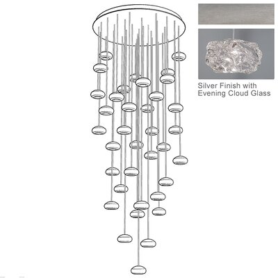 Natural Inspirations 36-Light Cascade Pendant Finish: Platinized Silver